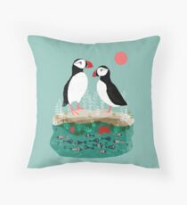 Puffins - Pair of Seabirds, Ocean, Sea Life, Coastal Art by Andrea Lauren Throw Pillow