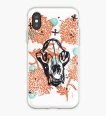 Bear Skull and Chrysanthemums iPhone Case
