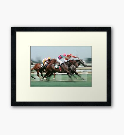 Horse racing action Framed Print