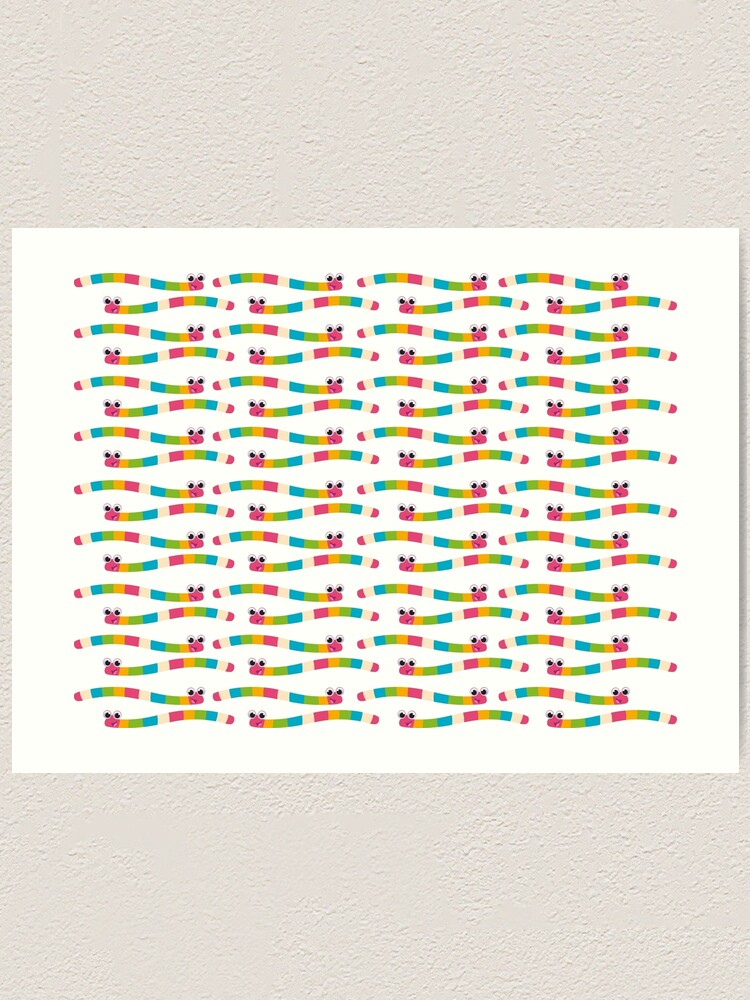 Alternate view of colourful worms for children Art Print
