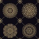 Seamless multicolor pattern with oriental mandalas. Hippie mandala pattern. Kaleidoscope elements. Fabric, wallpaper or wrap print by eszadesign