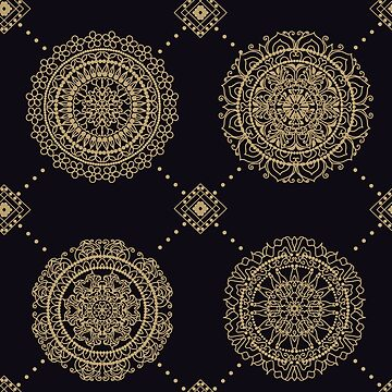 Seamless multicolor pattern with oriental mandalas. Hippie mandala pattern. Kaleidoscope elements. Fabric, wallpaper or wrap print by eszadesign