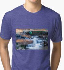 Cascading water down the Carreck Creek Tri-blend T-Shirt