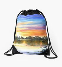 Colourful Morning Sunrise on the Lake with Heron Drawstring Bag