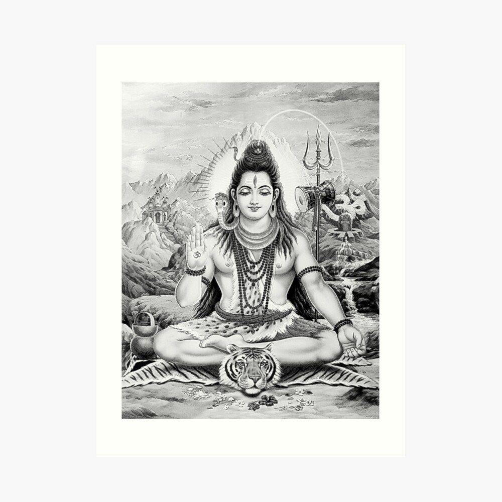 Lord shiva monochrome sketch art print