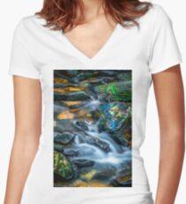 Cascading Creek Women's Fitted V-Neck T-Shirt