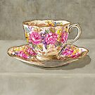 Traditional English Cup and Saucer for Tea Pink Roses by Jillian Crider