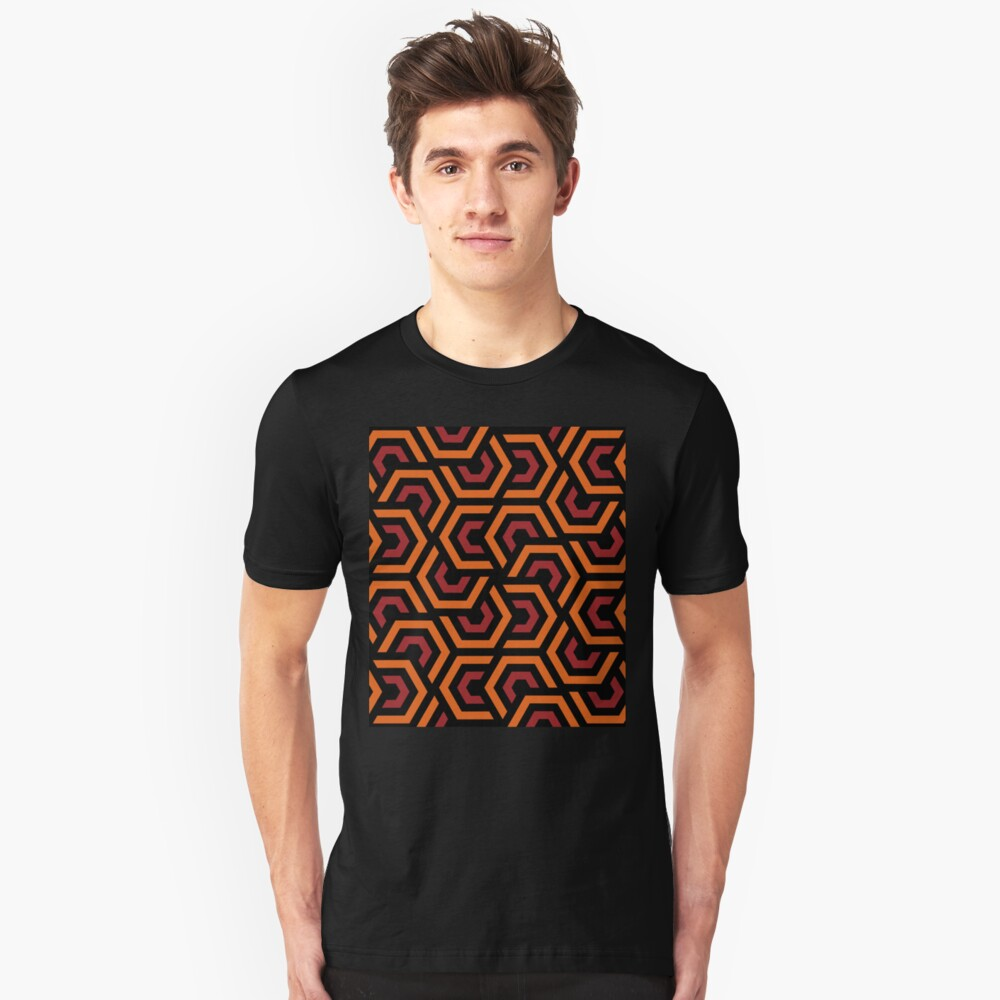 Geometric Pattern: Layered Hexagon: Orange Slim Fit T-Shirt