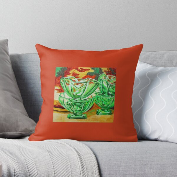 Painting of Retro Green Depression Glass Sundae Bowls Vintage Throw Pillow