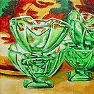 Painting of Retro Green Depression Glass Sundae Bowls Vintage by Jillian Crider