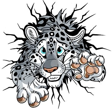 STUCK Snow Leopard (pink nose / paws) by tanidareal