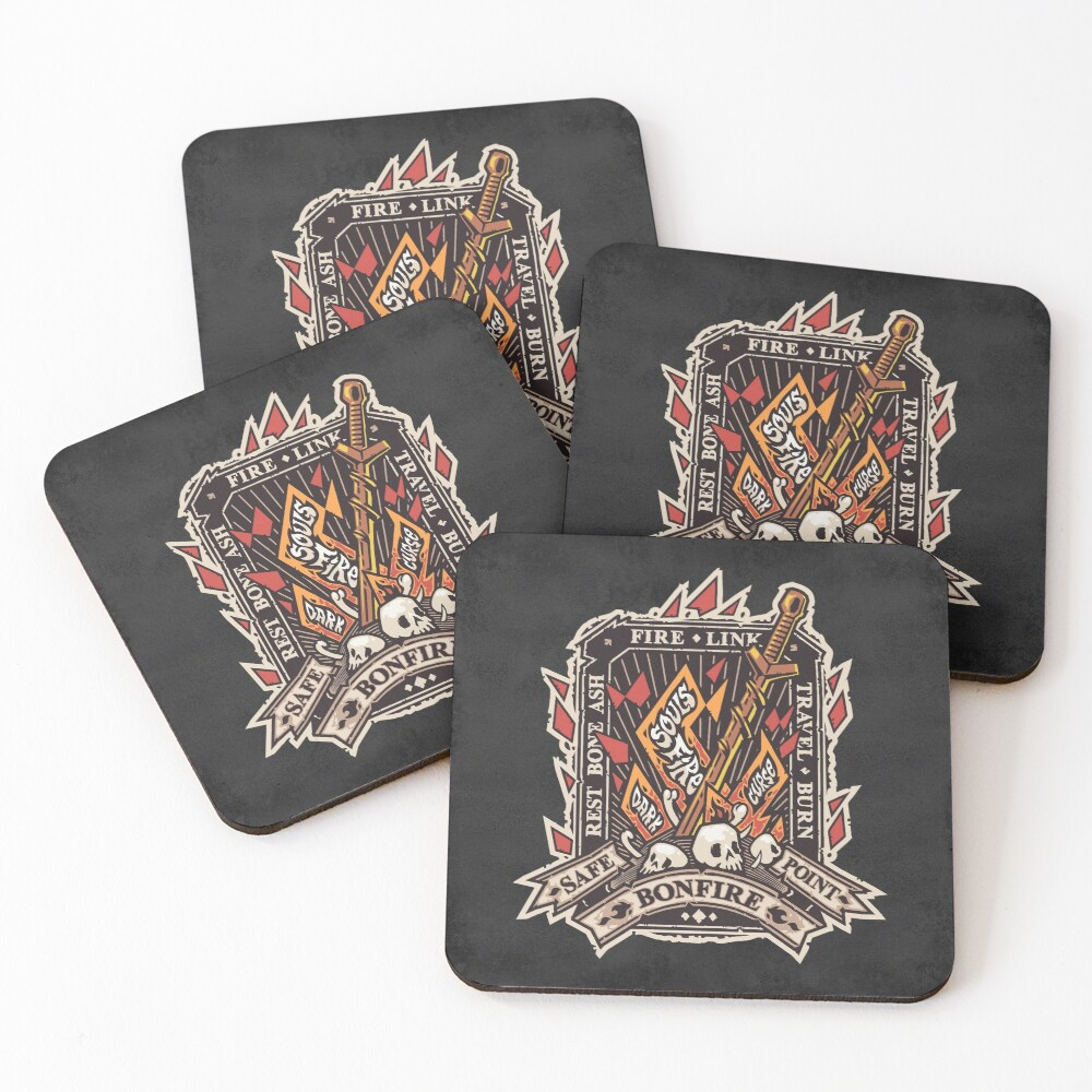 Dark Bonfire Emblem with Curse Souls Color Coasters (Set of 4)