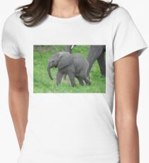 Baby African Elephant Women's Fitted T-Shirt