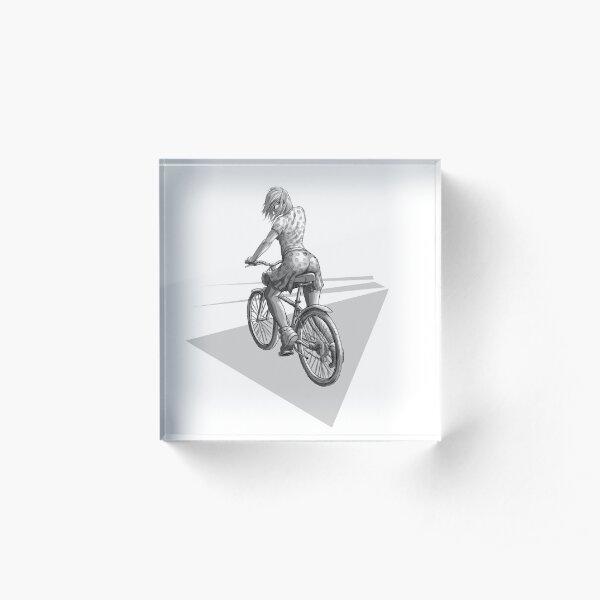 Fille à vélo Bloc acrylique