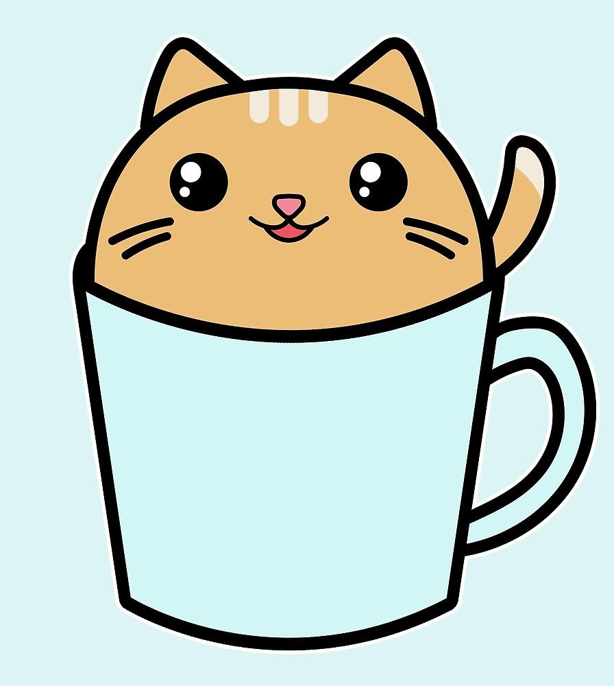 Cute Kawaii Cat Blue Coffee Cup\