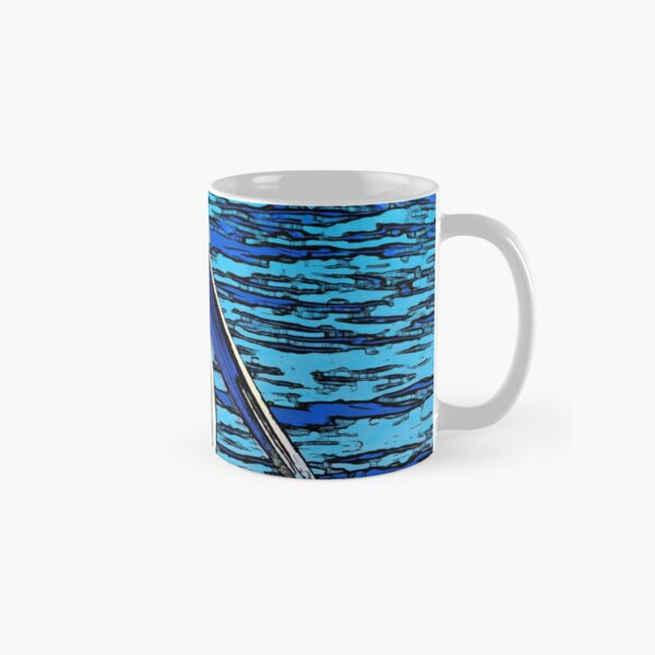 Digital Photograph Filter White Pelican Line Art Contrast Blues Classic Mug