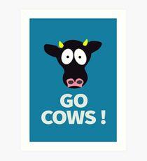 Gehen Sie die Version des Kühe-Plakat-Direktion mit Hintergrund Kunstdruck