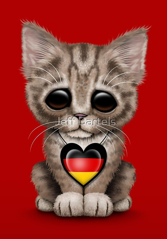 u0026quot cute kitten cat with german flag heart u0026quot  posters by jeff
