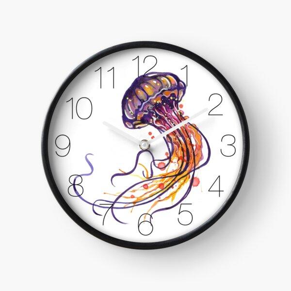 Jellyfish watercolor Clock