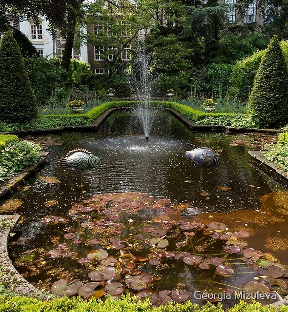 Backyard Oasis Symmetry - Gracious Garden Fountain by Georgia Mizuleva