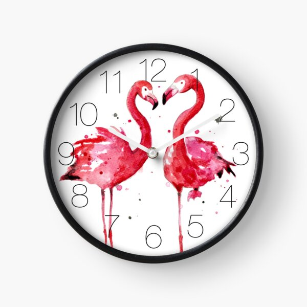 Pink Flamingos Clock