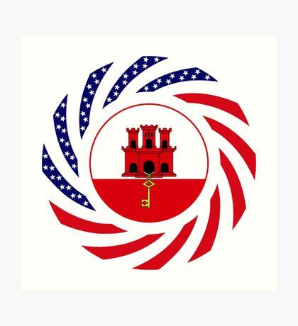 Gibraltarian American Multinational Patriot Flag Series Art Print