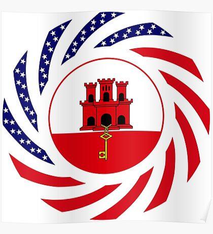 Gibraltarian American Multinational Patriot Flag Series Poster