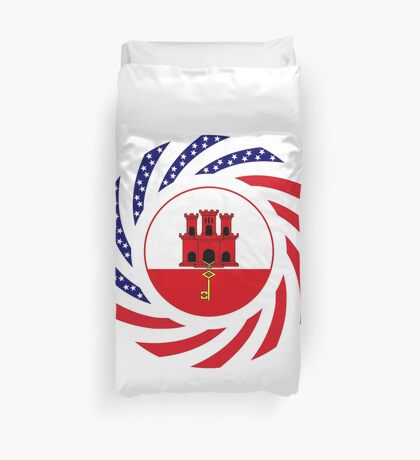 Gibraltarian American Multinational Patriot Flag Series Duvet Cover