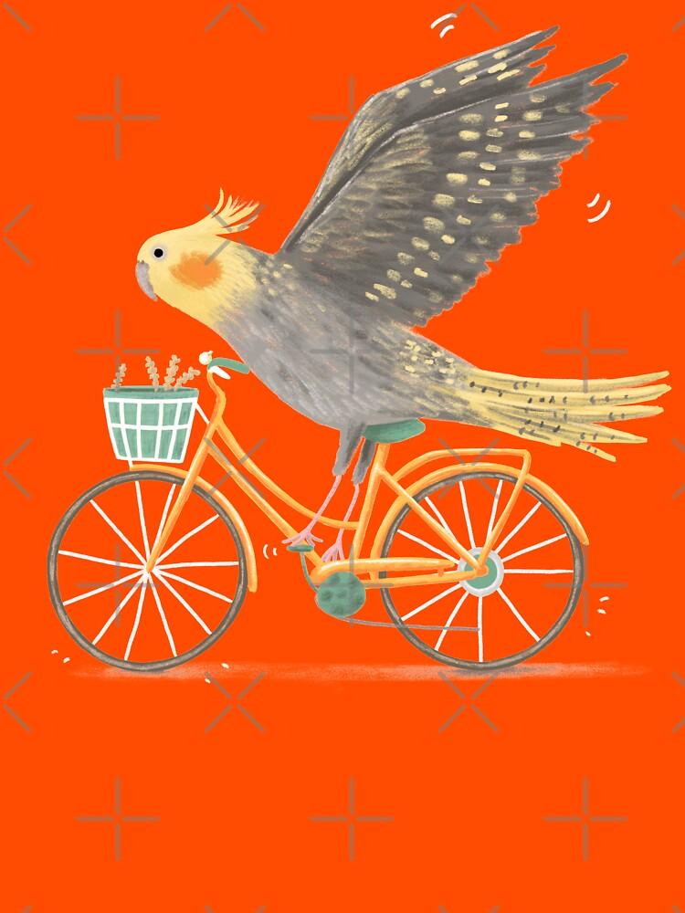 Nymphensittich auf einem Fahrrad von SophieCorrigan