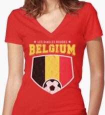 2018 Belgium Soccer TShirt World Football Jersey Cup Women's Fitted V-Neck T-Shirt