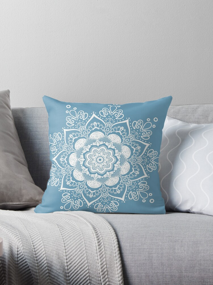 Mandala Art Slightly Blue Cushion by Bluebdesigns