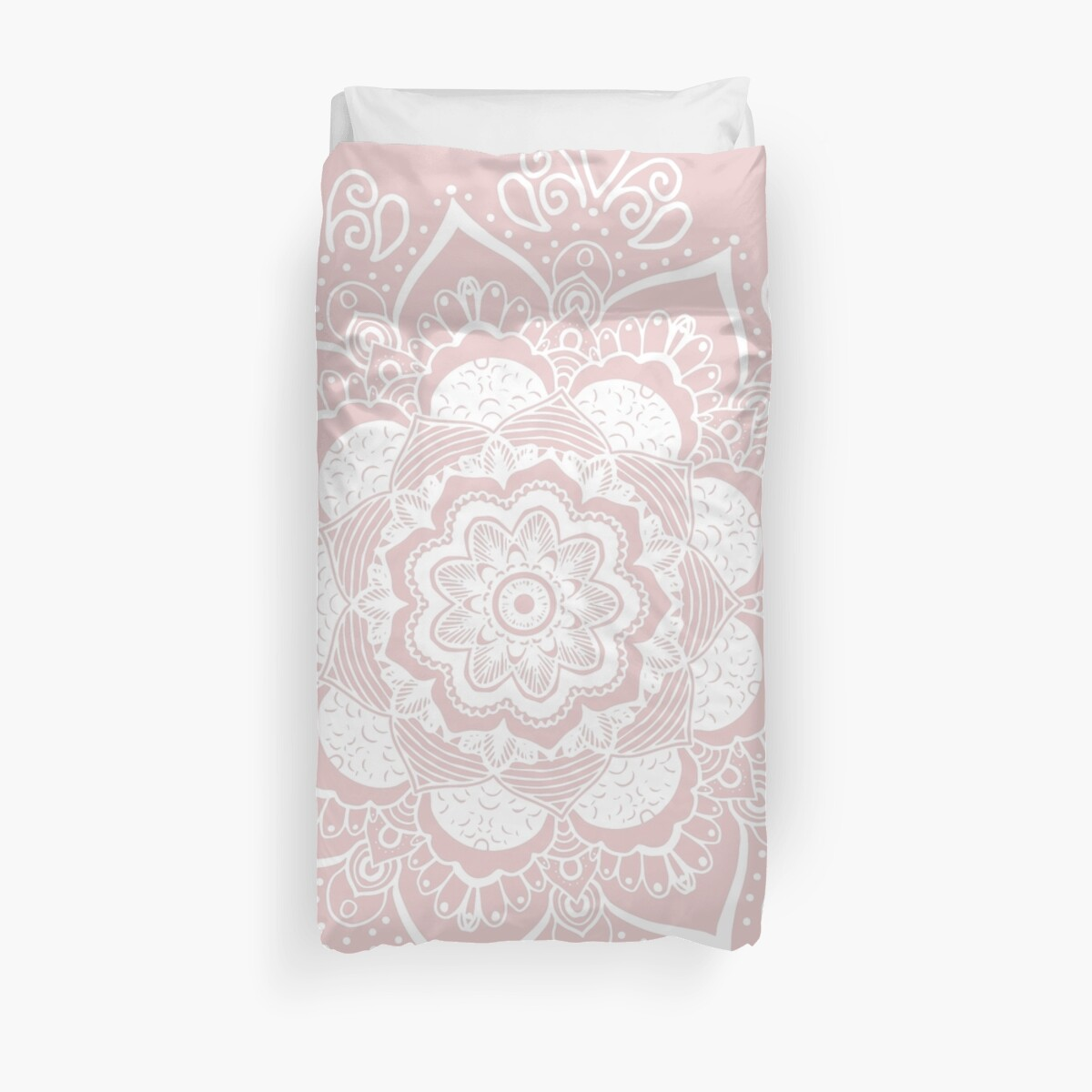 Mandala Rose Art Bed Cover by Bluebdesigns