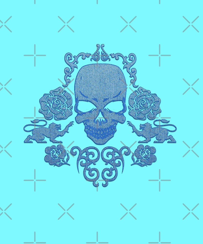 Jeans Skull and Roses Blue Graphic Style Design by Maryanovska