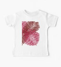Modern Tropical Palm Leaves Painting rose on white background Baby Tee