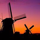 Windmills at Sunset - Kinderdijk, Netherlands by Yen Baet