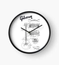 Guitar Gibson Les Paul Logo Patent Black Clock