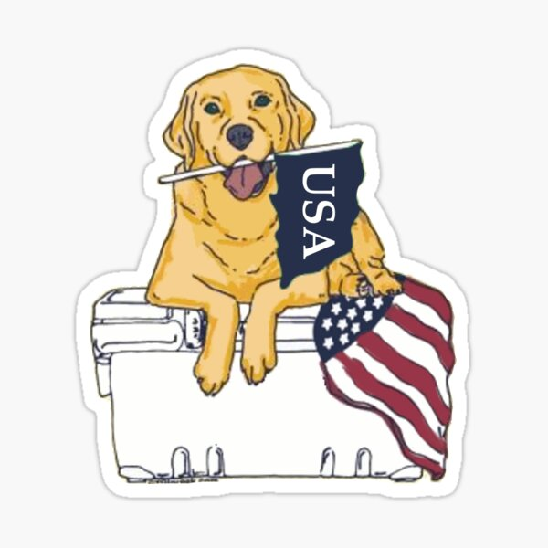 Dog on Cooler with Flag Sticker