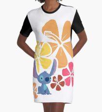 Hawaiian Hibiscus with Little Alien Graphic T-Shirt Dress
