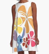 Hawaiian Hibiscus with Little Alien A-Line Dress