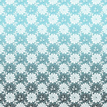 Teal Blue and White Ombre Floral by Greenbaby