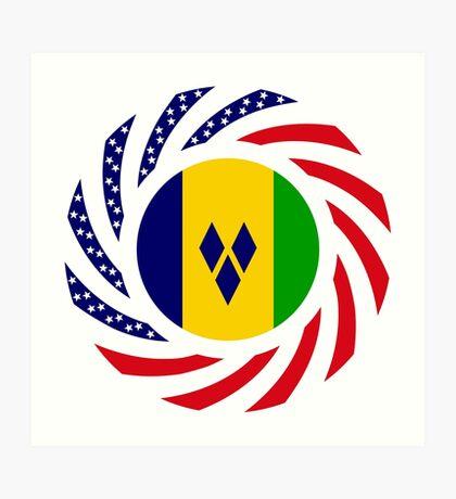 Saint Vincentian American Multinational Patriot Flag Series Art Print