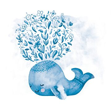 Cute Watercolor Whale by noondaydesign