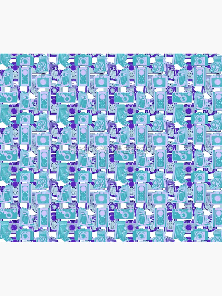 Vintage Camera Pattern in Turquoise and Blue by RetroArtFactory