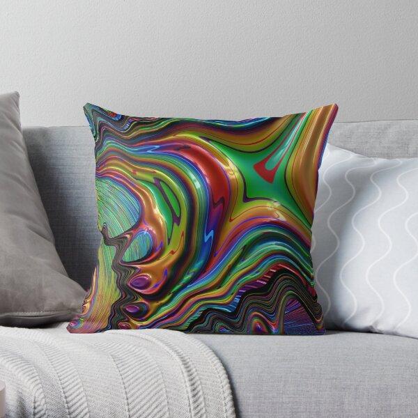 Rainbow Paint Fractal 25 Throw Pillow