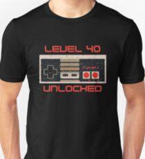 Videospiel Geburtstag T-Shirt für Männer und Frauen LEVEL 40 ENTSPERRT Slim Fit T-Shirt