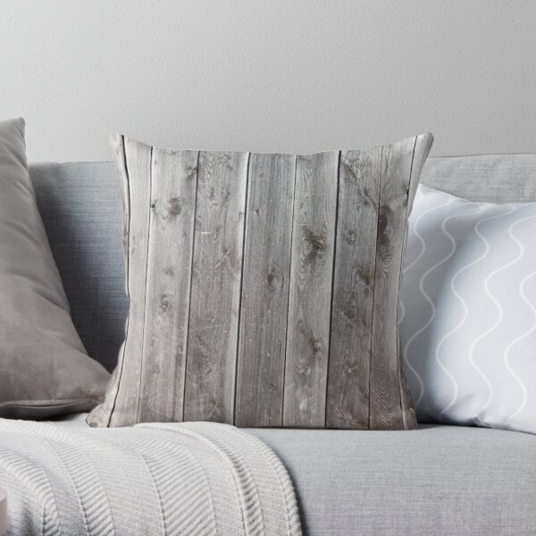 distressed country farmhouse primitive grey barn wood Throw Pillow