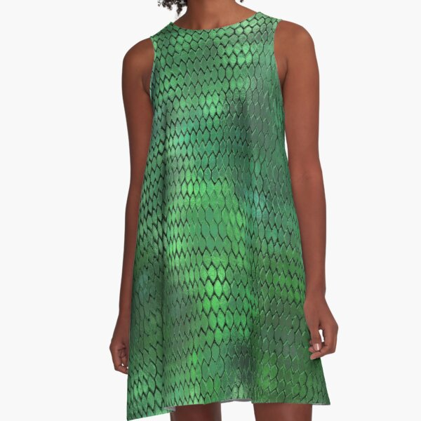 Green Metallic Dragon Scales A-Line Dress