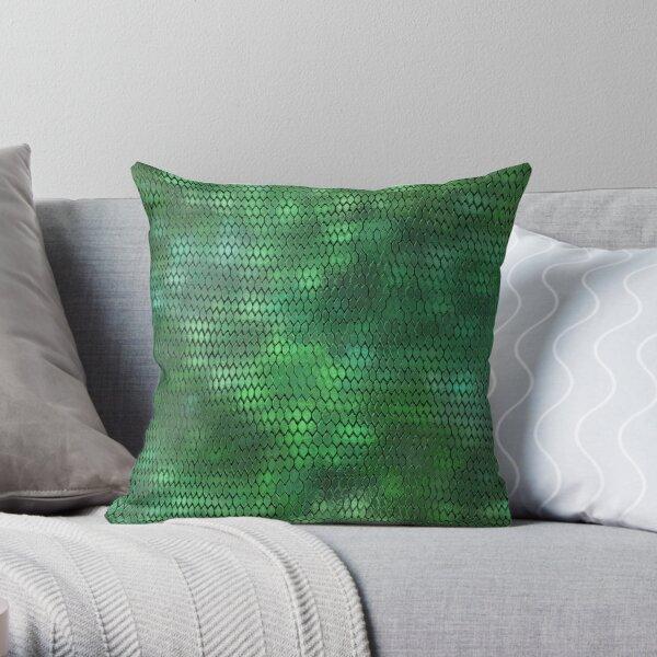 Green Metallic Dragon Scales Throw Pillow