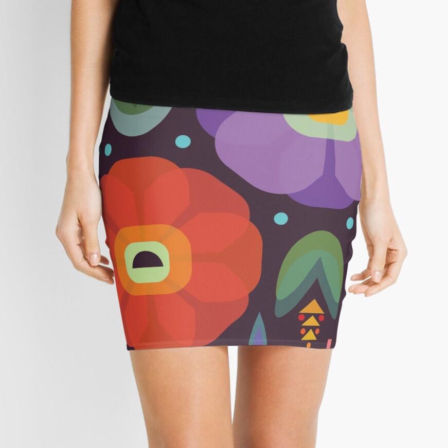 Flowerfully Folk Mini Skirt