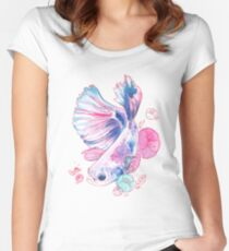 Floral Betta  Women's Fitted Scoop T-Shirt